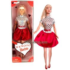 Year 1999 Barbie Valentine Special Edition Series 12 Inch Doll - XXXOOO BARBIE in Silver Tops with Red Skirt and Hairbrush Barbie Top, Barbie Dolls, Diy Barbie Clothes, Hairbrush, Silver Tops, Valentine Special, Barbie Collection, Red Skirts, The Duff