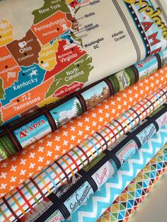 Quilting Fabric Bundle by Robert Kaufman Explore America- Panel plus 6 other coordinating fabrics- You Choose The Cuts
