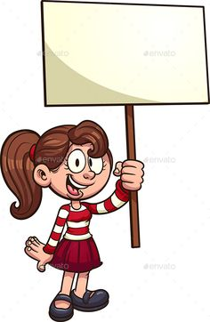 Buy Girl with Sign by memoangeles on GraphicRiver. Cartoon girl with blank placard. Vector clip art illustration with simple gradients. All in a single layer. Cartoon Kids, Cartoon Images, Girl Cartoon, Best Cartoon Characters, Cool Cartoons, Vector Design, Graphic Design, Art Girl, Art For Kids