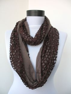 Fabric Knitted Lace Scarf - Circle Scarf - Scarf necklace - Shawl Scarf- Infinity Scarf - Cowl Scarf - Neck warmer - in brown. $16.00, via Etsy.