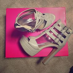 """Grey Platform Heels Chunky platform heels, never worn, and still in their tissue wrapping. Heel length is 5.75"""" OFFERS WELCOME Shoes Platforms"""