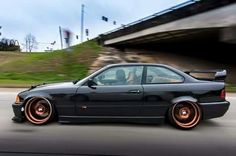 BMW E36 3 series black deep dish slammed