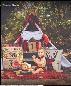 Boys 1st Birthday Cake, 1st Birthday Photoshoot, Lumberjack Birthday Party, Wild One Birthday Party, First Birthday Pictures, Boy Birthday Parties, Leo Birthday, Birthday Ideas, Flannel Fashion