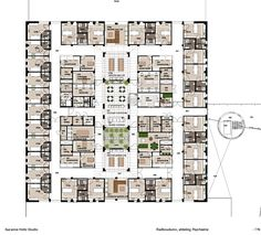 Hospital interior design, floor plan and layout Psychiatry Unit Radboudumc. Interior design Suzanne Holtz Studio