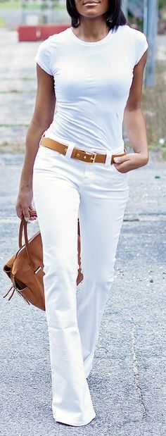 white blouse, jeans. street @roressclothes closet ideas #women fashion outfit #clothing style apparel