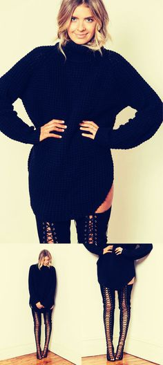 black sweater thigh high boots