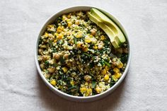 Lemony Millet Salad with Chickpeas, Corn, + Spinach via Edible Perspective #gluten-free