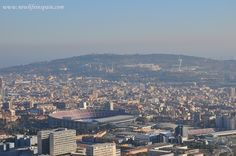 Views to Montjuic and Camp Nou, Barca's football stadium from Carretera de les Aigües