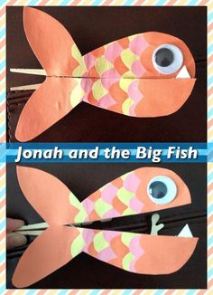 Jonah and the Big Fish (or whale) clothespin craft. Used a clothespin, construction paper mounted onto cardboard, hot glue, and googly eyes. Could be used as a teaching tool for the Bible story about Jonah. Bible Story Crafts, Bible School Crafts, Bible Crafts For Kids, Preschool Bible, Vbs Crafts, Bible Activities, Church Crafts, Sunday School Crafts, Preschool Crafts
