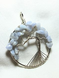 Blue Laced Agate Tree-of-Life Pendant, Tranquility Tree of Life Necklace by SassyMyDesigns on Etsy
