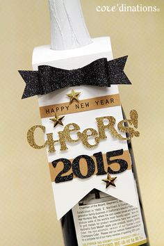 New Years Wine Bottle Gift Tag from Core'dinations  cardstock. Quick and easy gift idea!