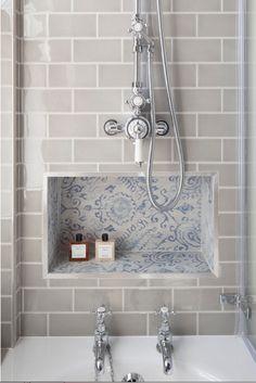 Ceramic Tile Bathrooms, Metro Tiles Bathroom, Bathroom Shower Tiles, Kitchen Backsplash, Grey Kitchen Wall Tiles, Tiled Showers, Gray Shower Tile, Subway Tile Showers, Bathroom Niche
