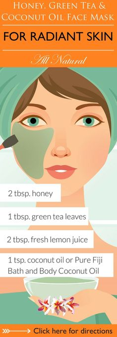 Beauty Secrets Revealed! This combination of anti-oxidant rich green tea, soothing coconut oil, lemon and detoxifying honey will leave your skin feeling moisturized and radiant. Click here to learn 6 DIY coconut oil face mask recipes for you to try that are sure to leave your skin soft, supple and radiant http://www.purefiji.com/blog/coconut-oil-face-masks/