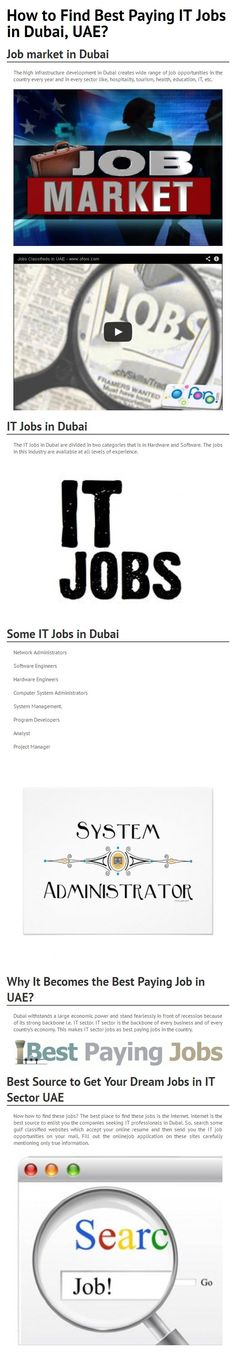 Know about Job market in Dubai, UAE with Infrastructure Development of Dubai has made UAE a Corporate HUB for International Job Opportunities, IT Jobs in Dubai, Why It Becomes a Best Paying Job in UAE and Best Source to Get Your Dream Jobs in IT Sector UAE from Search Classified Website & Post Your Resume Today. For more details visit http://www.oforo.com/jobs/jobs-offered/ads/1753/