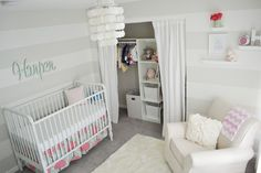 White and Gray Striped Nursery with Mint Green and Coral Accents - so fresh and lovely!