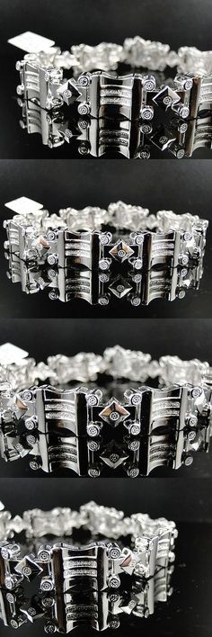 Bracelets 137835: New Mens White Gold Finish Genuine Diamond Designer Bracelet Bangle BUY IT NOW ONLY: $249.99