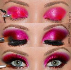 Pink and fuchsia makeup