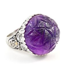 """Carved Amethyst Ring Set in Sterling Silver & 18K Gold Accents """"Talia"""" 