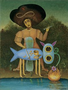 Victor Brauner: The Surrealist (Le surréaliste), January 1947 - Oil on canvas (The Solomon R. Guggenheim Foundation,Peggy Guggenheim Collection, Venice)     Brauner's main inspiration for the title figure of The Surrealist comes from the Marseilles Tarot's trump no. 1, Le Bateleur. Brauner must also have known the Rider-Waite Tarot in which the trump is called The Magician and wears an infinity sign as a halo…