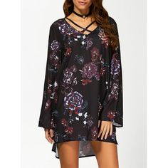 SHARE & Get it FREE | V Neck Long Sleeve Floral Print Tunic DressFor Fashion Lovers only:80,000+ Items·FREE SHIPPING Join Dresslily: Get YOUR $50 NOW!
