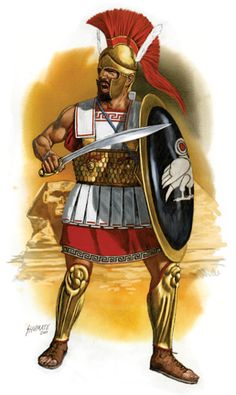 """Chabrias, the celebrated Athenian general. Artwork by J. Shumate. In 378BCE, when Athens entered into an alliance with Thebes against Sparta, Chabrias famously ordered his men at ease rather than charging the Spartans—with the spear remaining pointing upwards instead of towards the enemy, and the shield leaning against the left knee instead of being hoisted against the shoulder. This """"show of contempt"""" stopped the advancing Spartan forces, and shortly afterwards they withdrew."""