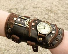 Unisex Brown leather Steampunk Large Diving Sparrow and