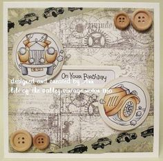LOTV - Vintage Car Trio by Ann Lomax Men's Cards, Boy Cards, Greeting Cards, Lily Of The Valley, Masculine Cards, Hobbies And Crafts, Handmade Cards, Card Ideas, Vintage World Maps