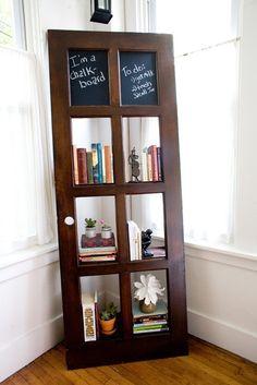 Vintage Door Repurposed Bookshelf: Chalk Board