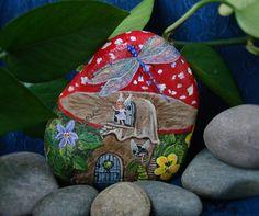 Fairy house,Painted rock,Hand painted stone,Fairy garden,Mushroom house,Dragonfly,Damselfly,Fairy door,Polka dots,Toadstool,Garden decor,Bug by NightOwlFineArt on Etsy