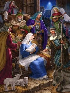 Holy Night is a 400 piece jigsaw puzzle by Cobble Hill featuring the Nativity Scene of Jesus Christ and measures at 24 Nativity House, Christmas Nativity Scene, Christmas Scenes, Noel Christmas, Vintage Christmas Cards, Christmas Pictures, Winter Christmas, Christmas Decor, Illustration Noel