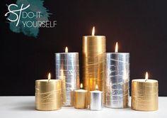 DIY Candles : DIY Fabulous Glam Metallic Candles