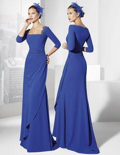 Long cobalt blue party dress made of crepe. Long Sleeve Mermaid Dress, Blue Dresses, Dresses With Sleeves, Half Sleeves, Blue Party Dress, Prom Dress Shopping, Prom Dresses Online, Business Dresses, Groom Dress