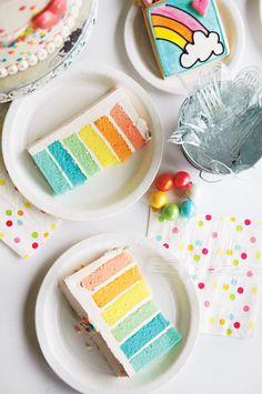 Pastel rainbow layer cake