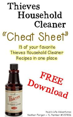 Do you ever get sick of having to look up your THC recipes each time you need them? That& why I& created this Thieves Household Cleaner Cheat Sheet! Thieves Essential Oil, Essential Oils Cleaning, Essential Oil Uses, Thieves Household Cleaner, Thieves Cleaner, Household Cleaners, Diy Cleaners, Household Tips, Kitchen Cleaners