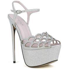 Celeste Women's Hilary-01 Rhinestone Embellished Laser-Cut Peep-Toe... ($24) ❤ liked on Polyvore featuring shoes, pumps, silver, celeste shoes, sling back shoes, peeptoe shoes, high heel shoes and high heel peep toe shoes