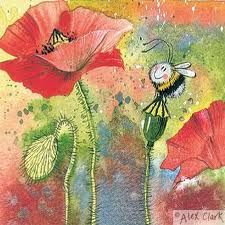 Bumble bee on a poppy.