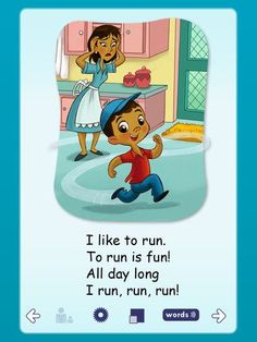 "Run is Fun Book App - from ""Beginning Reader Series"", teach kids phonics with short rhyming stories. All are FREE. #kidsapps #FreeApps"