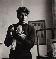 Young Lucien Freud with pet falcon, c. late 1940s - early 1950s.