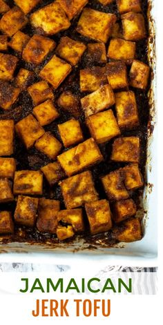 This flavorful Jerk Tofu recipe is so easy to prepare. Seasoned baked tofu smothered with the bold flavors of my jerk sauce recipe is an amazing taste of the tropics. Vegetarian Recipes Easy, Vegetarian Cooking, Cooking Recipes, Healthy Recipes, Cooking Games, Vegetable Recipes, Vegan Food, Vegan Tofu Recipes, Easy Recipes