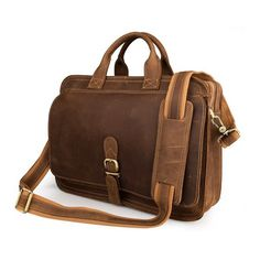 Men's Handmade Leather Briefcase Messenger Laptop Bag Men's Handbag For Christmas Gift 6020