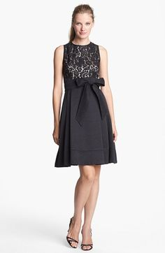 Eliza J Mixed Media Fit & Flare Dress (Regular & Petite) available at #Nordstrom
