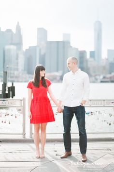 Brooklyn Bridge Park Engagement Session photos with views of Manhattan. Chicago Engagement Photos, Engagement Couple, Engagement Pictures, Engagement Shoots, Engagement Photography, White Shirt And Jeans, Brooklyn Bridge Park, Nyc Wedding Photographer, Nyc Photographers