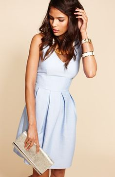 Cute blue pastel fit & flare dress (under 100 dollars)