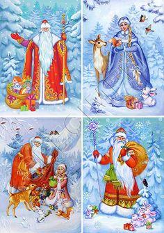Christmas Decoupage, Christmas Cards To Make, Christmas Books, Father Christmas, Christmas Paper, Christmas Greeting Cards, Christmas Pictures, Christmas Greetings, New Year Postcard