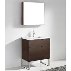 "Madeli Milano 30"" Bathroom Vanity for Quartzstone Top - Walnut 