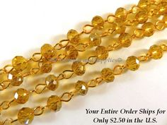 3ft Amber Beaded Chain Gold Plated Transparent Faceted Topaz Glass Rondelle Beaded Rosary 7x5mm - 39 inch - STR9088CH-AM39 by allearringsandsuppli on Etsy