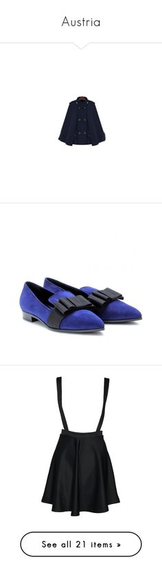 """""""Austria"""" by whiterabbitmadness ❤ liked on Polyvore featuring shoes, suede loafers, slippers shoes, black loafers, blue suede shoes, kohl shoes, skirts, bottoms, dresses and saias"""