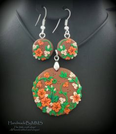 Floral earrings pendant polymer clay set-Summer by HandmadeByMMS