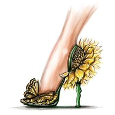 Sunflowers & Butterflies Heels watch how I did this illustration on my Snapchat: shamekhbluwi