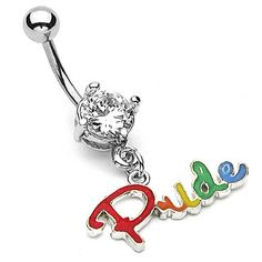Rainbow Pride Script Belly Ring w/ Clear CZ - Gay  Lesbian Pride Navel / Belly Ring (Body Jewelry)